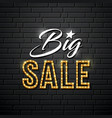big sale message gold lighting design vector image