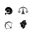 birth signs black glyph icons set on white space vector image