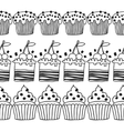 Black and white decorative border of cakes for vector image vector image