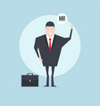 businessman character saying hi with speech bubble vector image vector image