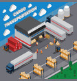 cargo transportation isometric composition vector image vector image