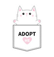 cat pocket paw print adopt me pink heart cute vector image vector image