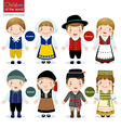 Children of the world Sweden Norway Iceland vector image