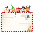 christmas friends on letter for santa claus vector image vector image