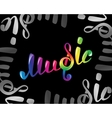 Colorful music logo on black vector image