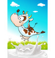 cute cow jumping over milk splash with natural vector image vector image