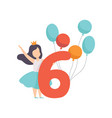 cute girl celebrating her sixth birthday child vector image vector image