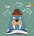 cute walrus characters gull on the cloud vector image