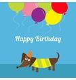 Dachshund dog Striped shirt Cute cartoon