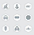delivery icons set with combat aircraft car vector image vector image