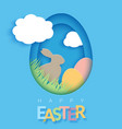 easter card with paper cut egg shape frame happy vector image vector image