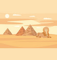 egypt desert landscape with pyramids and sphinx vector image vector image