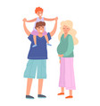 family father son and pregnant mother walking vector image vector image