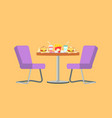 fast food restaurant table with burger and drink vector image vector image