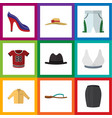 Flat icon dress set of stylish apparel elegant vector image