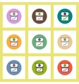 flat icons set of progress statistics and currency vector image vector image