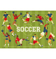 football soccer players cheerleaders fans on vector image vector image
