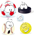 funny sport ball with face isolated on white - vector image