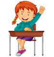 girl student sit on school desk vector image vector image