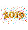 golden toy balloons happy new year 2019 3d vector image