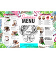 hand drawing summer menu design with flamingo vector image vector image