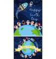 happy earth day poster with kids in space vector image vector image
