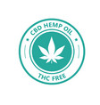 hemp derived cbd oil stamp thc free icon vector image vector image