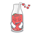 in love strawberry smoothie mascot cartoon vector image vector image