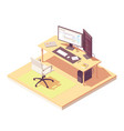 isometric programmer workplace vector image vector image
