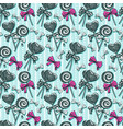 lollipops seamless pattern swirl and heart shaped vector image