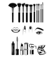 Makeup artist Brushs and tools Lips nails and eye vector image vector image