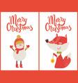 merry christmas fox snowman vector image vector image