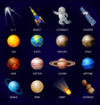 planets icon set cartoon style vector image