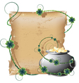 Pot with gold and the manuscript vector image