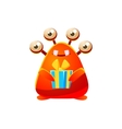 Red Toy Monster Holding Wrapped Gift vector image vector image