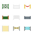 retro fence icons set flat style vector image vector image