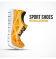 Running curved orange shoes Bright Sport sneakers vector image vector image