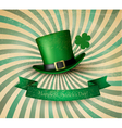 Saint Patricks Day card with clove leaf and green vector image vector image