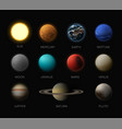 solar system planets realistic vector image