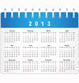 Stylish calendar page for 2013 vector image vector image