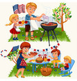 summer family grill and barbecue in nature vector image vector image
