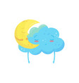 sweetly sleeping yellow crescent and blue cloud vector image
