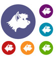 terrier dog icons set vector image vector image
