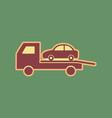 tow car evacuation sign cordovan icon and vector image vector image