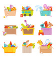 toys box gifts for kids in package many toys car vector image vector image