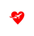 travel plane love logo vector image