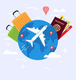 travel planning passport airplane ticket world map vector image