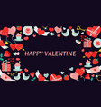 valentines day background with icon set vector image vector image