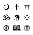 World religion symbols set with - christian vector image vector image