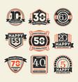 anniversary celebration vintage isolated label set vector image